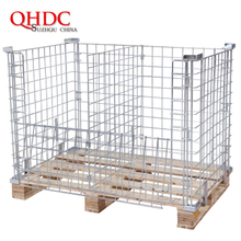 storage cage wire metal container with wooden pallet